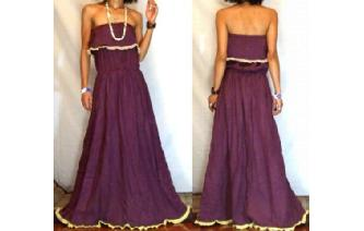 LONG STRAPLESS RUFFLED CROCHET MAXI SUN DRESS O68 Image
