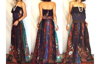 NEW Vtg ETH BATIK PANELED STRAPLESS MAXI DRESS O71 Image