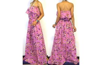 Vtg ETHNIC LILAC FLOWERS STRAPLESS MAXI DRESS O74 Image