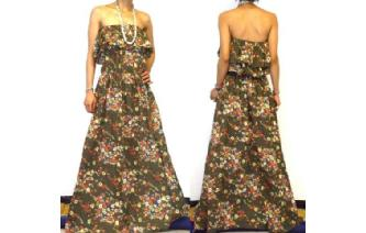 Vtg ETHNIC MULTI PRINT STRAPLESS MAXI DRESS O75 Image