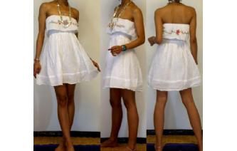 Vtg EMBROIDERY STRAPLESS RUFFLED MINI DRESS O77 Image
