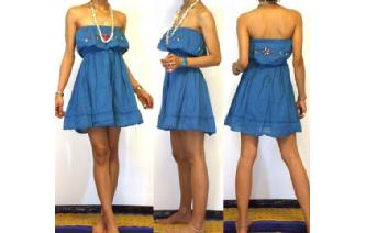 Vtg EMBROIDERY STRAPLESS RUFFLED MINI DRESS O79 Image