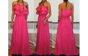 GYPSY BOHO ETHNIC RUFFLED HIPPIE MAXI DRESS 085 Image