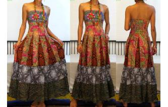 STRAPLESS EMBROIDERED VTG CRISTAL MAXI DRESS O91 Image