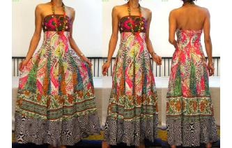 STRAPLESS EMBROIDERED VTG CRISTAL MAXI DRESS O92 Image