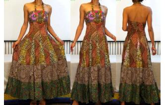 STRAPLESS EMBROIDERED VTG CRISTAL MAXI DRESS O94 Image