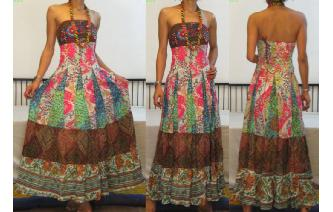 STRAPLESS EMBROIDERED VTG CRISTAL MAXI DRESS O98 Image