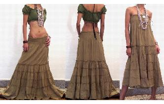 BOHO GYPSY STRAPLESS HIPPIE PARTY DRESS SKIRT O3 Image