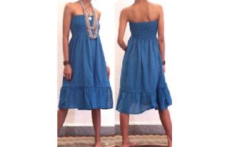 BOHO STRAPLESS TUBE LACE HIPPIE DAY SUN DRESS O6 Image