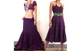 BOHO GYPSY STRAPLESS HIPPIE PARTY DRESS SKIRT O8 Image
