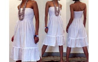 BOHO STRAPLESS TUBE LACE HIPPIE DAY SUN DRESS O9 Image