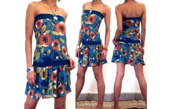 BOHO Vtg FLORAL STRAPLESS MOD MINI DAY DRESS 011 Image