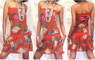 HIPPIE Vtg STRAPLESS MINI SUMMER PARTY DRESS O13 Image