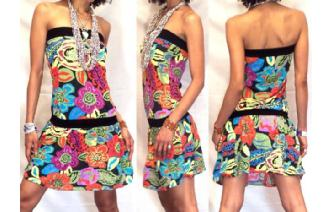 Vtg 60's PSYCHEDELIC STRAPLESS MOD MINI DRESS O14 Image