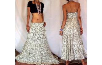 BOHO GYPSY STRAPLESS HIPPIE PARTY DRESS SKIRT O19 Image