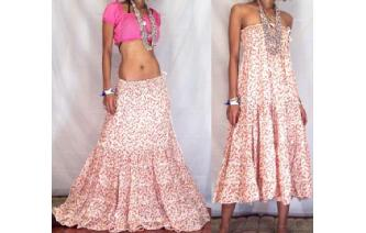 BOHO GYPSY STRAPLESS HIPPIE SUN DRESS SKIRT O21 Image