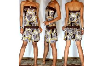 Vtg 70's HYPNOTIC SPIRAL STRAPLESS MINI DRESS O22 Image