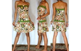 HIPPIE Vtg PSYCHEDELIC STRAPLESS MOD DAY DRESS O23 Image