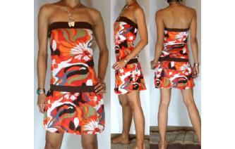 Vtg 60's PSYCHEDELIC STRAPLESS MOD MINI DRESS O24 Image