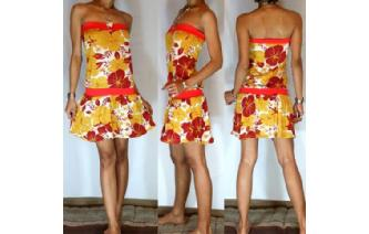 Vtg 60's FLOWER POWER STRAPLESS MOD MINI DRESS O26 Image