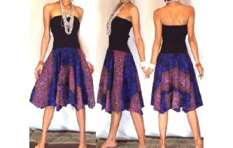 GOTH BLACK BATIK STRAPLESS CIRCLE SKIRT DRESS O37 Image