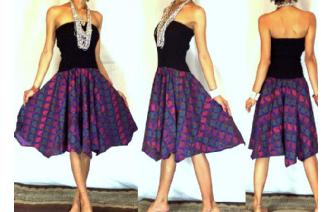 NEW BLACK BATIK STRAPLESS CIRCLE SKIRT DRESS 038 Image