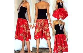 NEW BLACK BATIK STRAPLESS CIRCLE SKIRT DRESS O39 Image