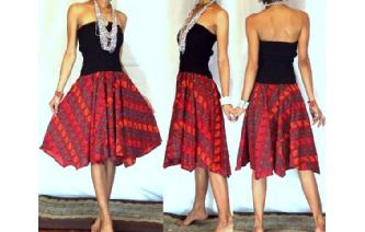 NEW BLACK BATIK STRAPLESS CIRCLE SKIRT DRESS O40 Image