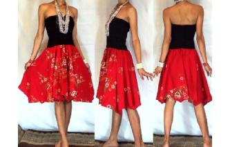 NEW BLACK BATIK STRAPLESS CIRCLE SKIRT DRESS O41 Image