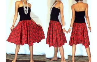 NEW BLACK BATIK STRAPLESS CIRCLE SKIRT DRESS O42 Image