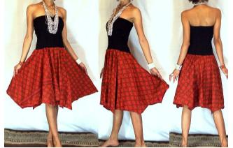 NEW BLACK BATIK STRAPLESS CIRCLE SKIRT DRESS O43 Image