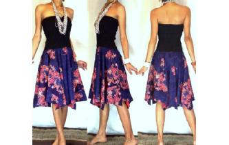 NEW BLACK BATIK STRAPLESS CIRCLE SKIRT DRESS O44 Image