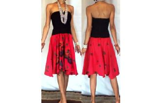 NEW BLACK BATIK STRAPLESS CIRCLE SKIRT DRESS O45 Image