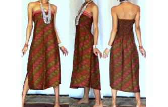 NEW VTG BATIK HEMP STRAPLESS BOHO SUN DRESS O46 Image
