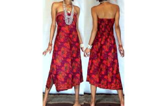 VTG BATIK HEMP STRAPLESS BOHO DAY SUN DRESS O47 Image