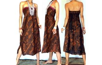 VTG BATIK HEMP STRAPLESS BOHO DAY SUN DRESS O48 Image
