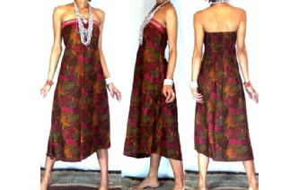 VTG BATIK HEMP STRAPLESS BOHO DAY SUN DRESS O49 Image
