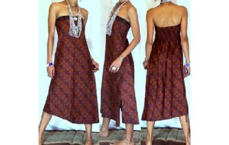 VTG BATIK HEMP STRAPLESS BOHO DAY SUN DRESS O51 Image