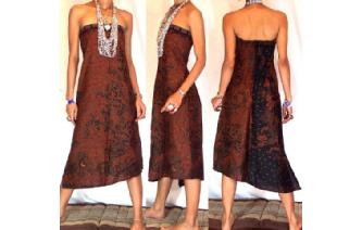 VTG BATIK HEMP STRAPLESS BOHO DAY SUN DRESS O52 Image