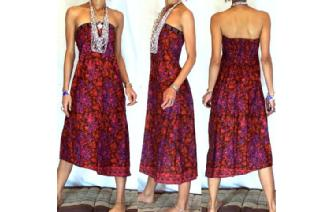 VTG BATIK HEMP STRAPLESS BOHO DAY SUN DRESS O54 Image