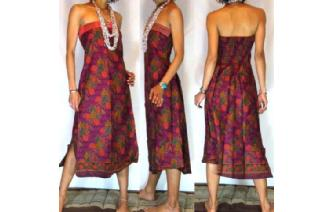 VTG BATIK HEMP STRAPLESS BOHO DAY SUN DRESS O55 Image