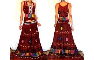 ETHNIC BOHO LONG CHIFFON EMBROIDERED SKIRT TOP J18 Image