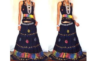 ETHNIC BOHO LONG CHIFFON EMBROIDERED SKIRT TOP J19 Image