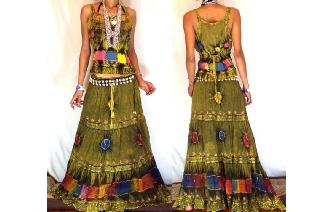 ETHNIC BOHO LONG CHIFFON EMBROIDERED SKIRT TOP J20 Image