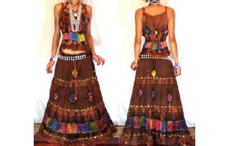 ETHNIC BOHO LONG CHIFFON EMBROIDERED SKIRT TOP J9 Image