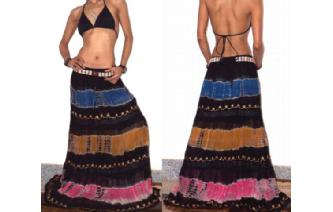 ETHNIC BOHO LONG CHIFFON EMBROIDER GYPSY SKIRT J12 Image