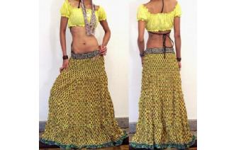 ETHNIC COTTON GAUZE BOHO HIPPIE GYPSY SKIRT J13 Image