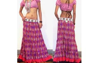 ETHNIC COTTON GAUZE BOHO HIPPIE GYPSY SKIRT J14 Image