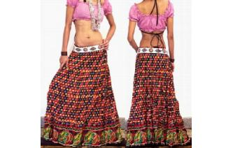 ETHNIC COTTON GAUZE BOHO HIPPIE GYPSY SKIRT J16 Image