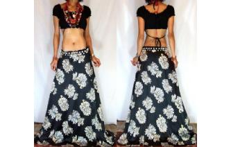 QUALITY BOHO ETHNIC EX LONG SILKY SATIN SKIRT J20 Image